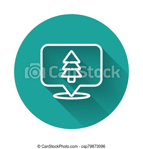 White line Location of the forest on a map icon isolated with long shadow. Green circle button. Vector Illustration - csp79873096