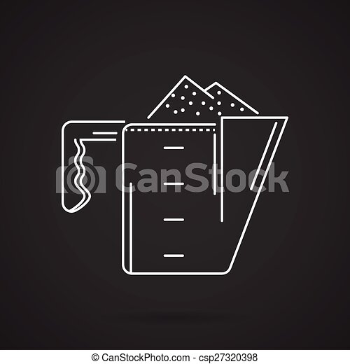 White line vector icon for measuring cup - csp27320398