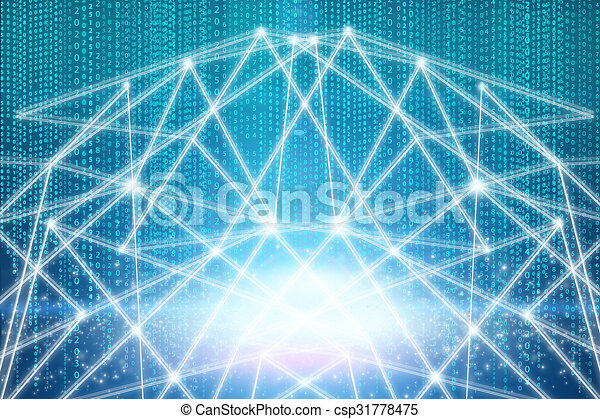 Drawing With Lines And Dots : White lines and dots on the blue background stock illustrations