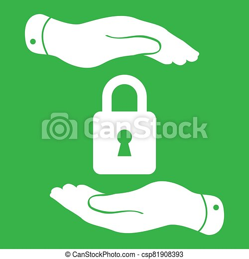 white lock icon in flat hands isolated on green background- vect - csp81908393