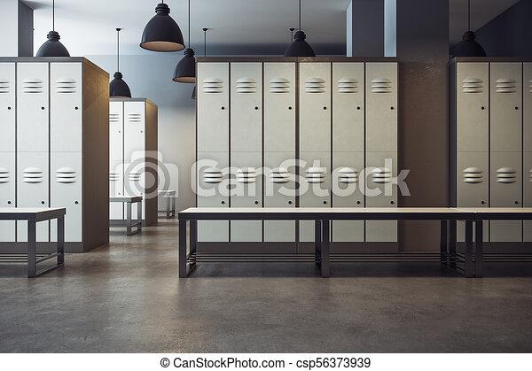 White Locker Room Interior White Locker Room Gym School Interior 3d Rendering