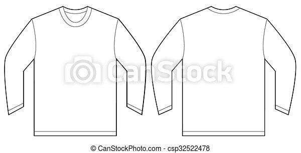 White Long Sleeve T Shirt Design Template Vector Illustration Of