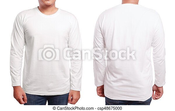 White long sleeved shirt design template. White long sleeved t-shirt ... 766dbba9544