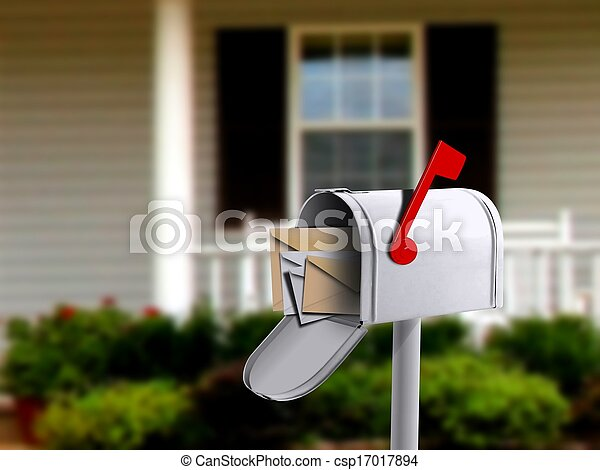 White Mail Box Infront of a House - csp17017894