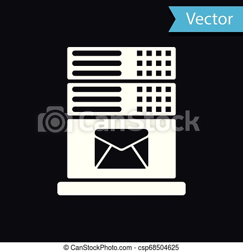 White Mail server icon isolated on black background. Vector Illustration - csp68504625