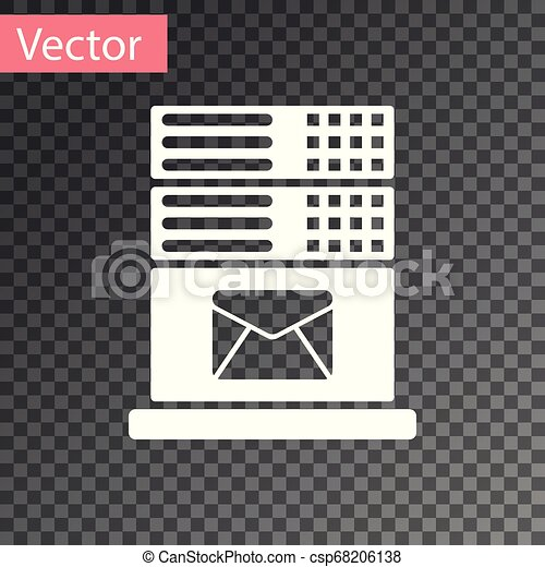 White Mail server icon isolated on transparent background. Vector Illustration - csp68206138
