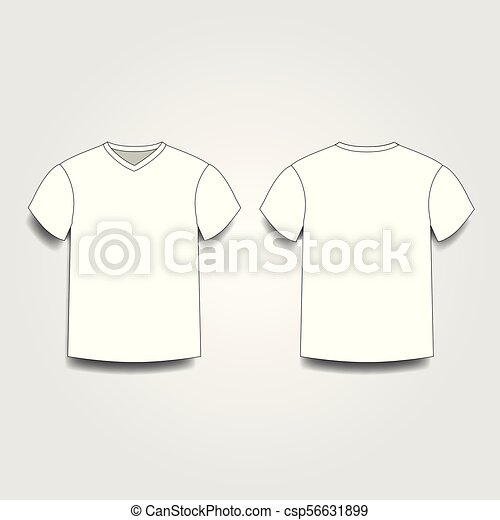 White Male T Shirt Template V Neck Front And Back Side Views