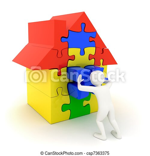 White man pushing in place puzzle house piece - csp7363375