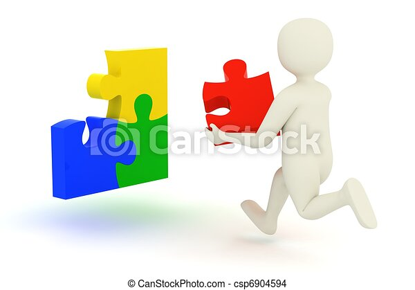 White man running with puzzle piece - csp6904594