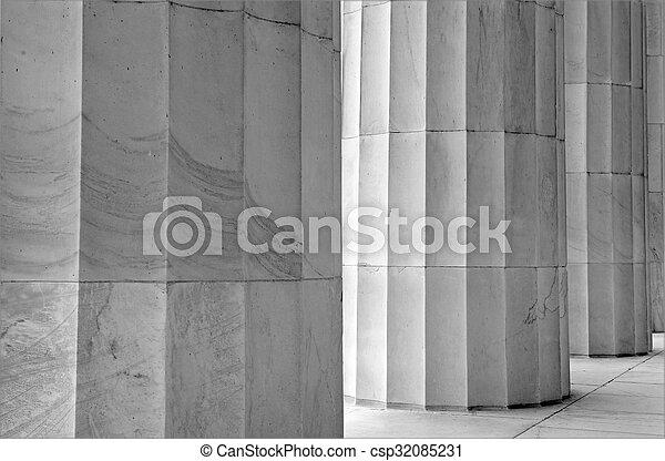 White marble fluted columns closeup - csp32085231