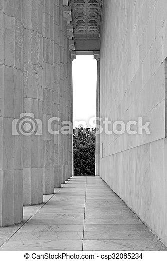 White marble fluted columns closeup - csp32085234