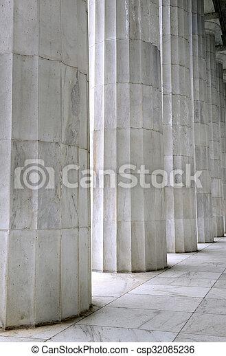 White marble fluted columns closeup - csp32085236