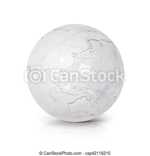 Australia Map Globe.White Marble Globe 3d Illustration Asia Australia Map