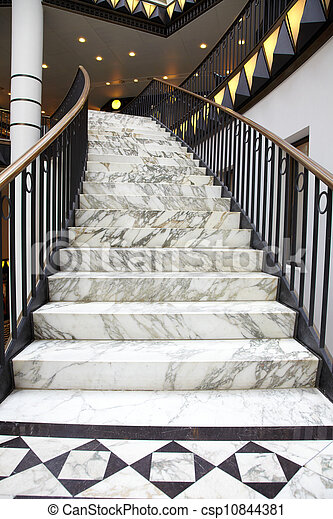 White Marble Stair In Interior   Csp10844381