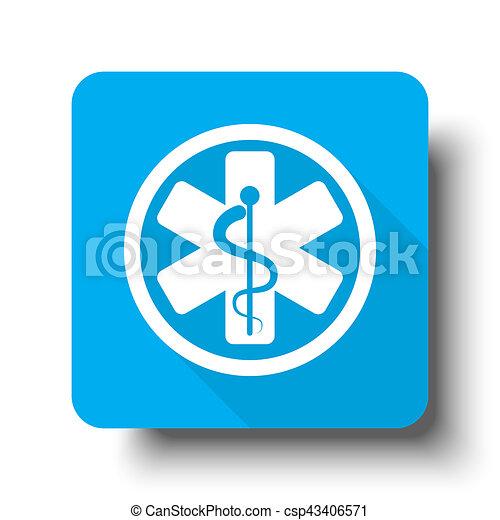 White Medical icon on blue web button - csp43406571