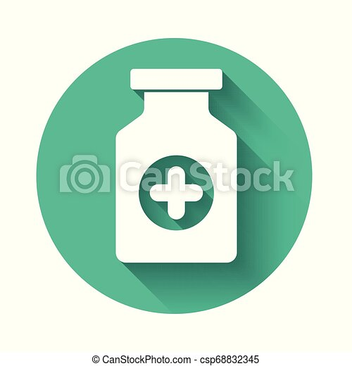 White Medicine bottle icon isolated with long shadow. Bottle pill sign. Pharmacy design. Green circle button. Vector Illustration - csp68832345
