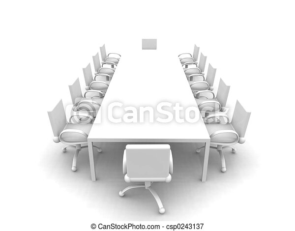 Stock Illustrations Of White Meeting Room D Rendered - Conference room table and chairs clip art