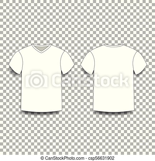 White men\'s t-shirt template v-neck front and back side views ...