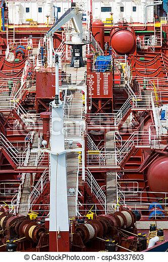 White Metal Stairs on Tanker - csp43337603