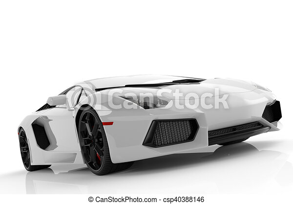 White Metallic Fast Sports Car On White Background Studio. Shiny, New,  Luxurious.