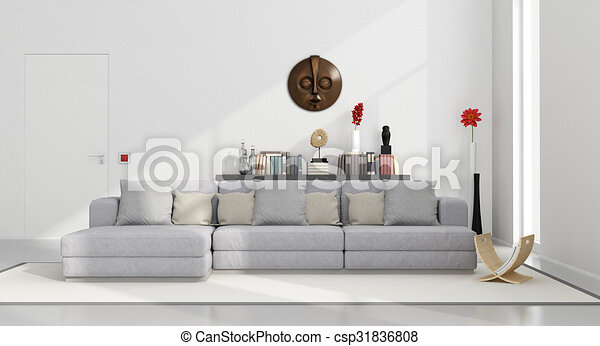 White minimalist living room - csp31836808
