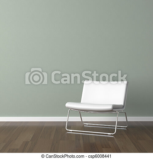 white modern chair on green wall - csp6008441