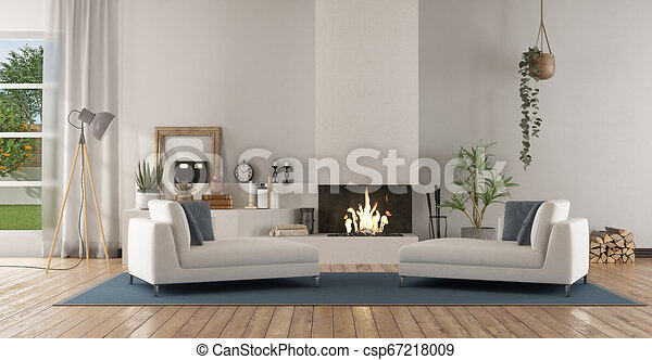 White modern living room with fireplace