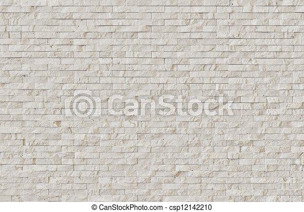 White Modern stone Brick Wall - csp12142210