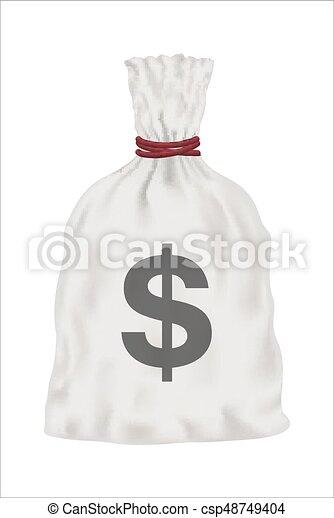 white money bag vector on white background - csp48749404