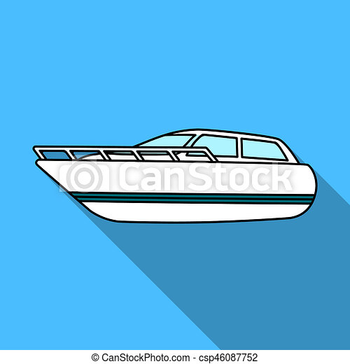 White motor boat to transport a few people One of the types of water  transport  Ship and water transport single icon in flat style bitmap symbol  stock
