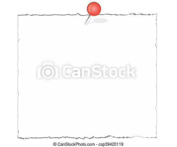 White note paper with red push pin isolated on white background with shadow - csp39420119