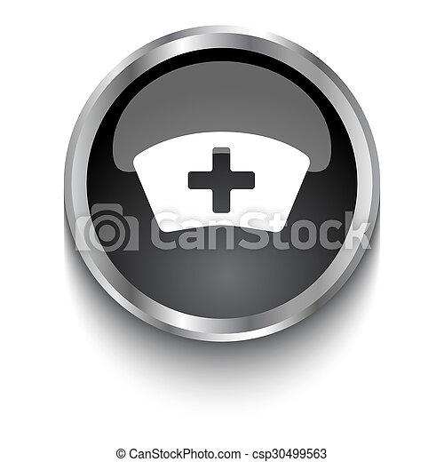 White Nurse symbol on black glossy web button - csp30499563