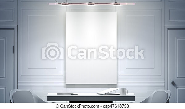 white office interior with blank poster mockup on the wall 3d rendering bright empty work meeting room vertical canvas mock up desk two chairs clear white w25 office
