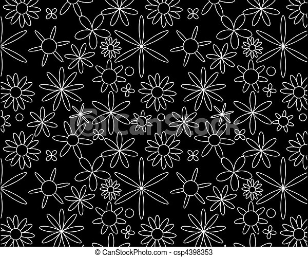 White on black seamless floral pattern - csp4398353