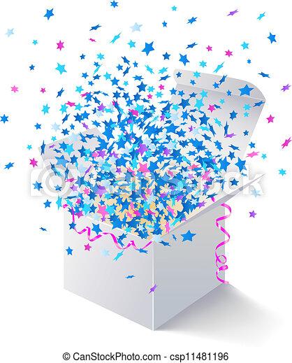 White open box flying stars white gift box fly colored stars white open box flying stars csp11481196 negle Images