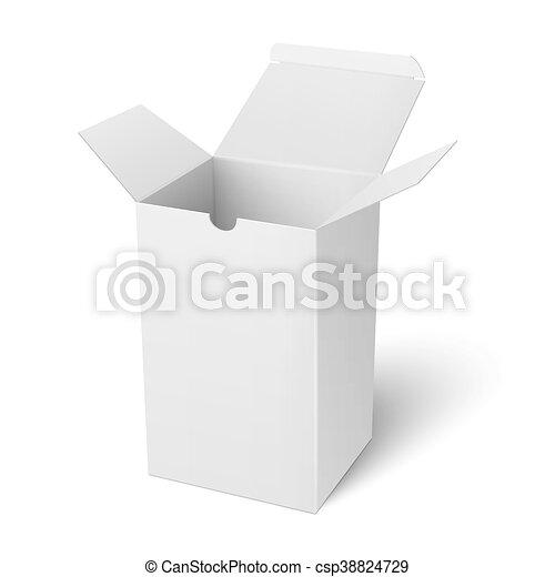 White Open Vertical Paper Box Template