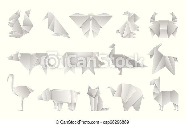 Set flat yellow origami shapes Royalty Free Vector Image | 309x450