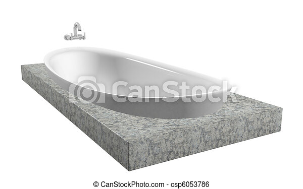 White oval bath with chrome faucet, sitting on a granite slate - csp6053786