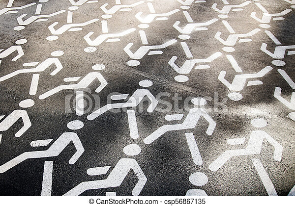 White painted pedestrian crossing sign on asphalt - csp56867135