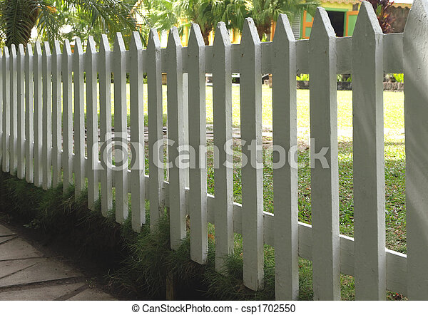 White painted picket fence - csp1702550