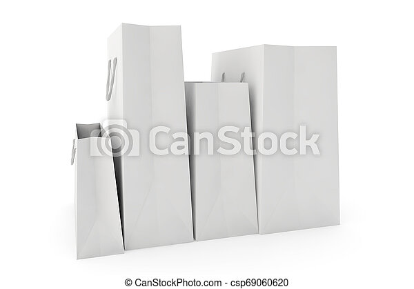 white paper bags on white background - csp69060620