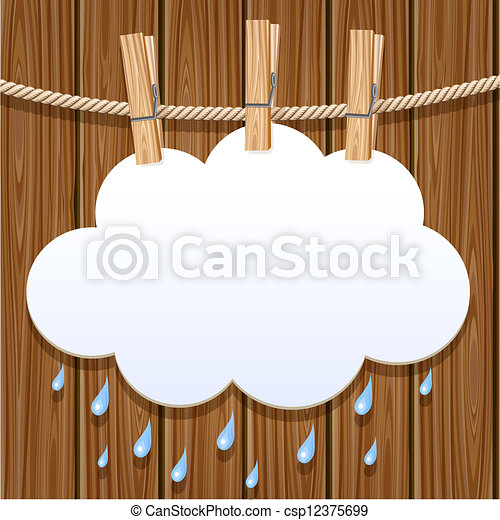 White paper cloud on a clothesline - csp12375699
