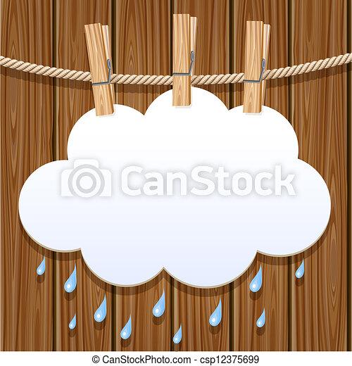 White paper cloud on a clothesline - csp12375699