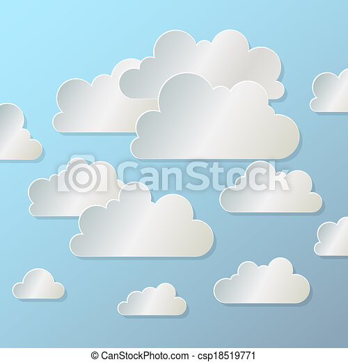 white paper cloud on blue background, eps10 - csp18519771
