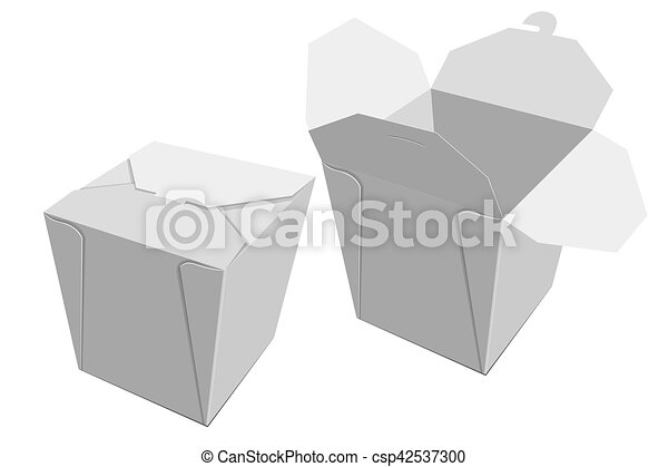White Paper Container Of Chinese Food. Storage Box Delivery. Vector    Csp42537300