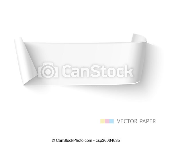 Vectors of White paper curved ribbon banner with roll Realistic – Free White Paper Template