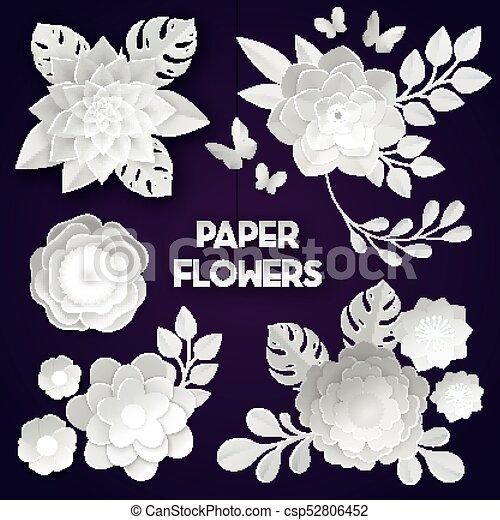 White paper flowers dark background elegant white paper cut flowers white paper flowers dark background csp52806452 mightylinksfo