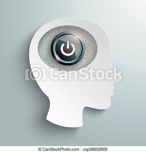 White Paper Head Brain Power Button - csp36602806