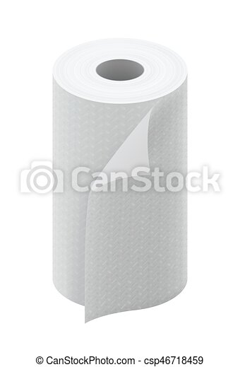 White Paper Kitchen Towel Roll Isolated On White Background Vector Illustration Canstock