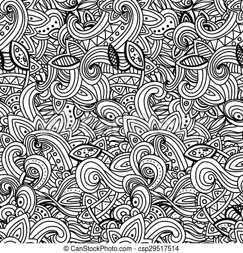 White Pattern Doodles - Decorative Sketchy Notebook Design- Hand-Drawn Vector Illustration Background. - csp29517514